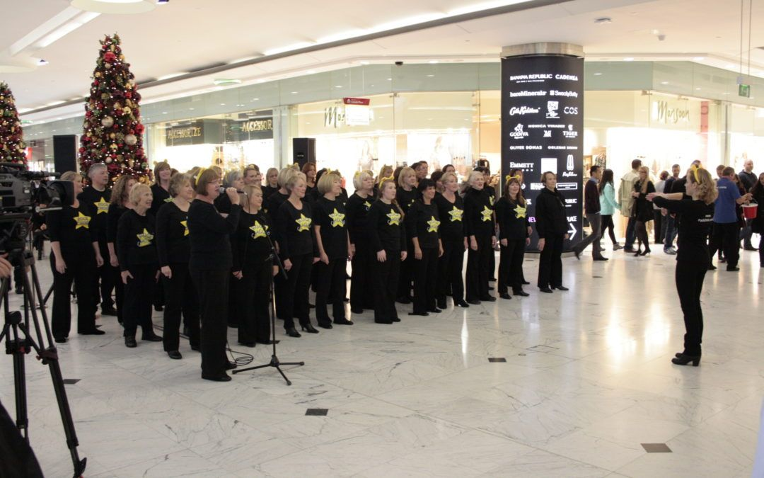 Rock Choir perform at Canary Wharf for CiN